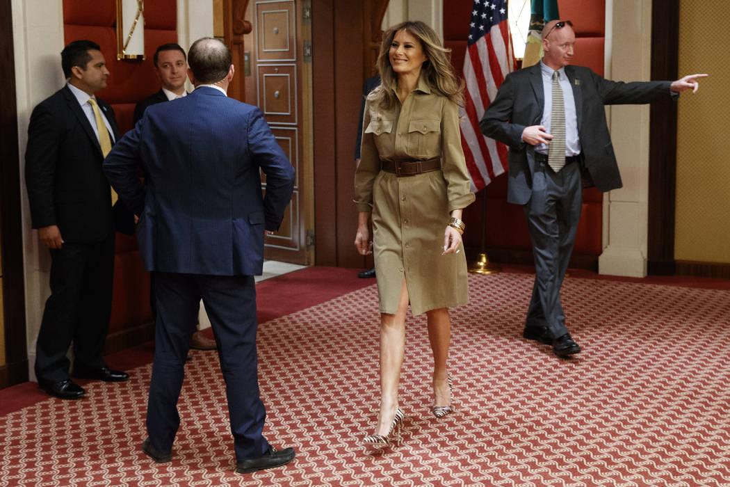 First lady Melania Trump walks in a hallway before a meeting between President Donald Trump and Bahrain's King Hamad bin Isa Al Khalifa, Sunday, May 21, 2017, in Riyadh. (Evan Vucci/AP)