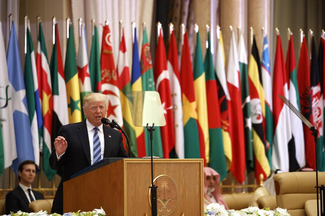 President Donald Trump delivers a speech to the Arab Islamic American Summit, at the King Abdulaziz Conference Center, Sunday, May 21, 2017, in Riyadh, Saudi Arabia. (Evan Vucci/AP)