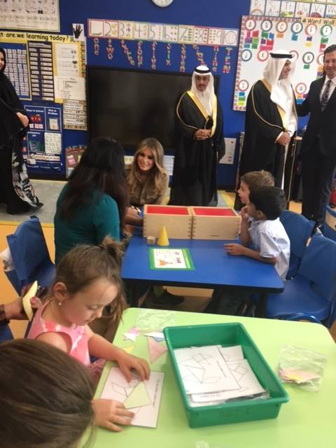 First lady Melania Trump visits schoolchildren at the American International School of Riyadh on Sunday morning. (Debra J. Saunders/Las Vegas Review-Journal)