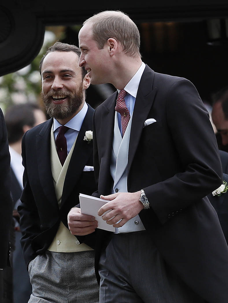 Britain's Prince William, right, talks to James Middleton after the wedding of Pippa Middleton and James Matthews at St Mark's Church in Englefield, England Saturday, May 20, 2017. Middleton, the  ...