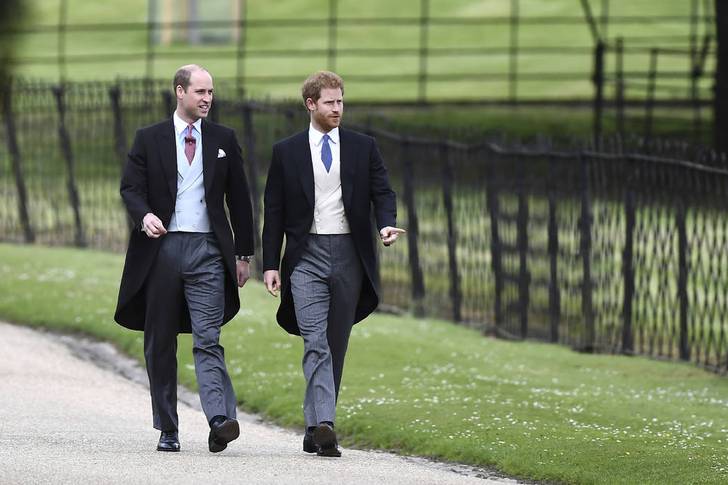 Britain's Prince William, left and Prince Harry, arrive for the wedding of Pippa Middleton and James Matthews at St Mark's Church in Englefield, England, Saturday, May 20, 2017. Middleton,  ...