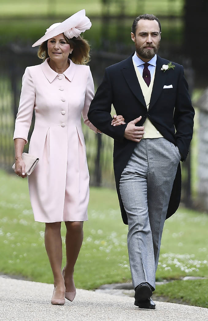 Carole Middleton and her son James arrive for the wedding of her daughter Pippa and James Matthews at St Mark's Church in Englefield Saturday, May 20, 2017. Middleton, the sister of Kate, Duchess  ...