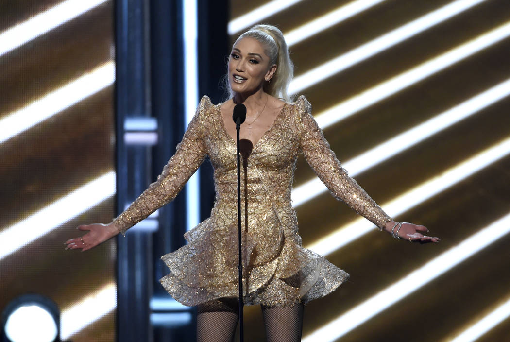 Gwen Stefani introduces a performance by Cher at the Billboard Music Awards at the T-Mobile Arena on Sunday, May 21, 2017, in Las Vegas. (Photo by Chris Pizzello/Invision/AP)