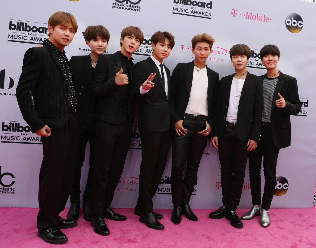 BTS during the Billboard Music Awards at T-Mobile Arena in Las Vegas Sunday May, 21, 2017. Elizabeth Brumley Las Vegas Review-Journal @EliPagePhoto