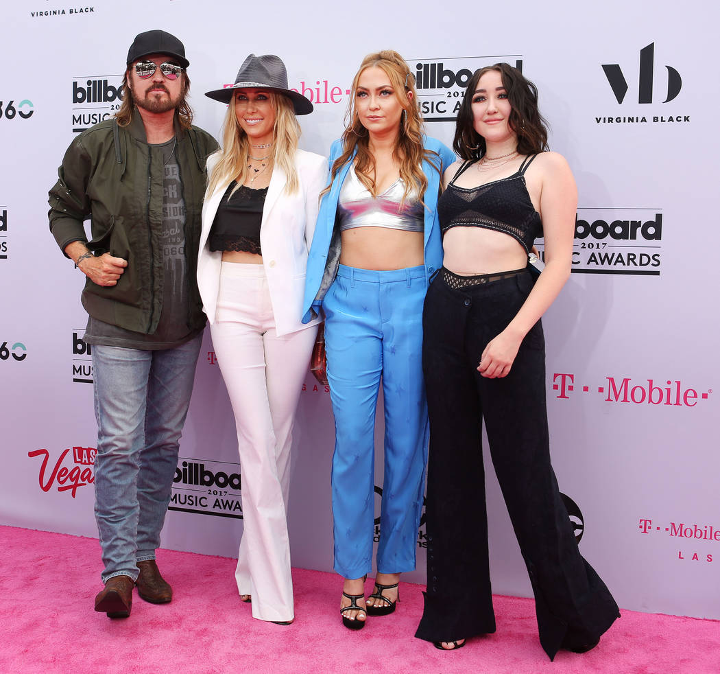 From left, Billy Ray Cyrus, Tish Cyrus, DJ Brandi Cyrus and Noah Cyrus during the Billboard Music Awards at T-Mobile Arena in Las Vegas Sunday May, 21, 2017. Elizabeth Brumley Las Vegas Review-Jou ...