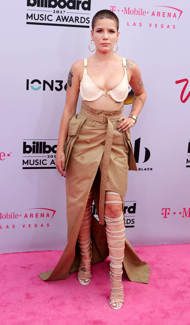 Halsey wears a Juun J Skirtduring at the Billboard Music Awards at T-Mobile Arena in Las Vegas Sunday May, 21, 2017. Elizabeth Brumley Las Vegas Review-Journal @EliPagePhoto