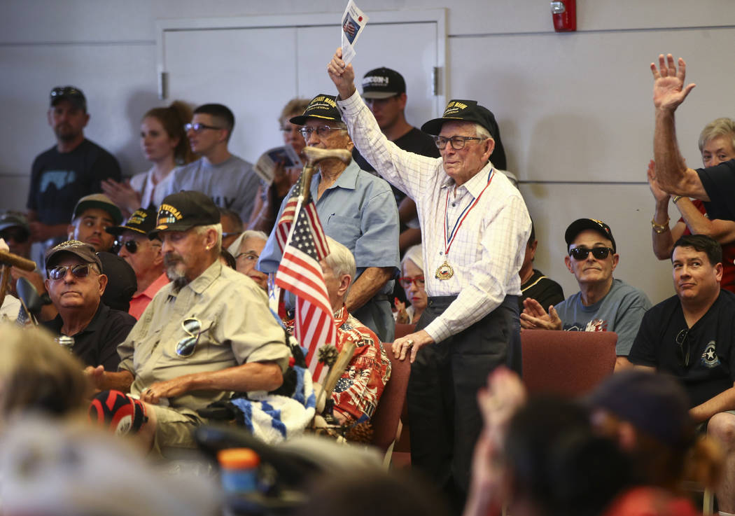 World War II veterans are acknowledged during a Memorial Day ceremony at the Southern Nevada Veterans Memorial Cemetery in Boulder City on Monday, May 29, 2017. Chase Stevens Las Vegas Review-Jour ...