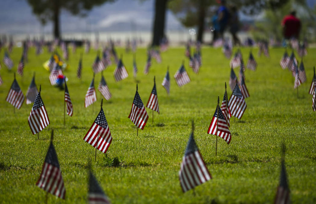 Flags at the Southern Nevada Veterans Memorial Cemetery following a Memorial Day ceremony in Boulder City on Monday, May 29, 2017. Chase Stevens Las Vegas Review-Journal @csstevensphoto
