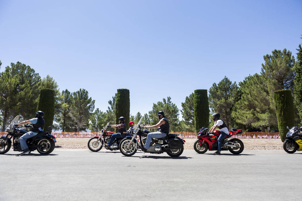 Hundreds of motorcyclists park around the Southern Nevada Veterans Cemetery for a memorial service for fallen soldiers in Boulder City, Sunday, May 28, 2017. Elizabeth Brumley Las Vegas Review-Jou ...