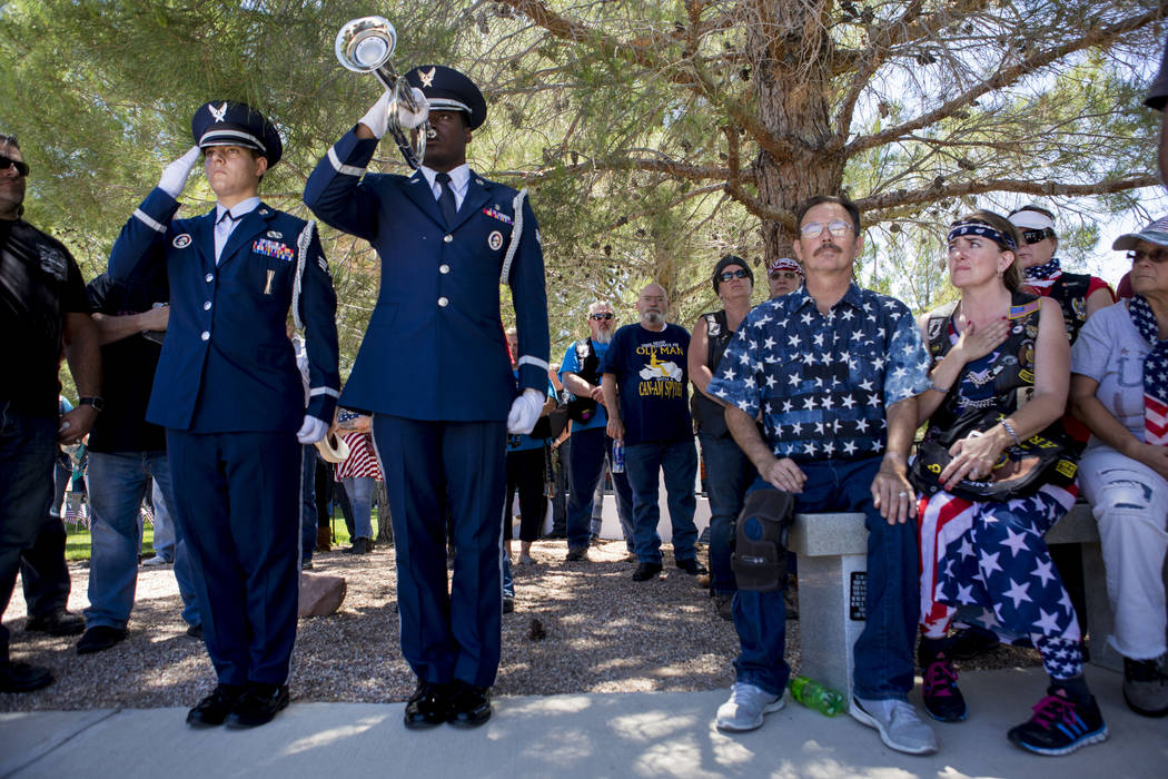 A memorial service for fallen soldiers was held at Southern Nevada Veterans Cemetery in Boulder City, Sunday, May 28, 2017. Elizabeth Brumley Las Vegas Review-Journal @EliPagePhoto
