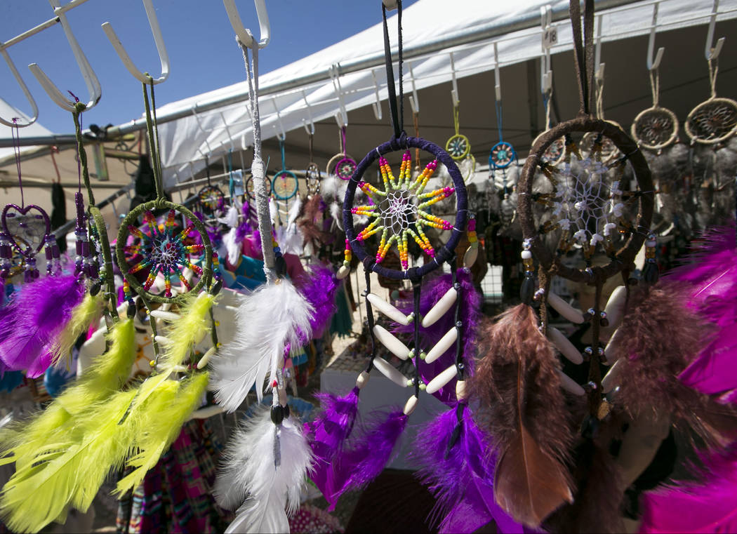 Dreamcatchers hang from a vendor's booth during the 28th annual Snow Mountain Pow Wow on Saturday, May 27, 2017. Richard Brian Las Vegas Review-Journal @vegasphotograph