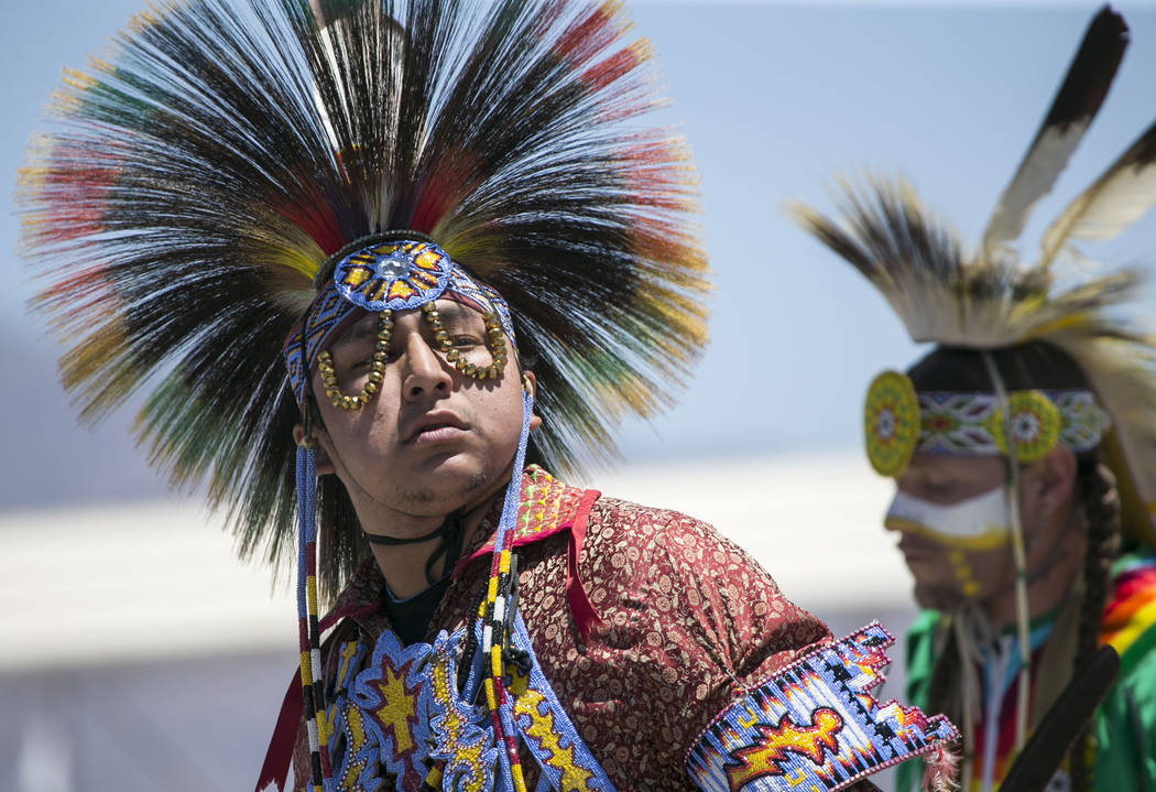 Participants perform a dance in the grand entry ceremonies during the 28th annual Snow Mountain Pow Wow on Saturday, May 27, 2017. Richard Brian Las Vegas Review-Journal @vegasphotograph