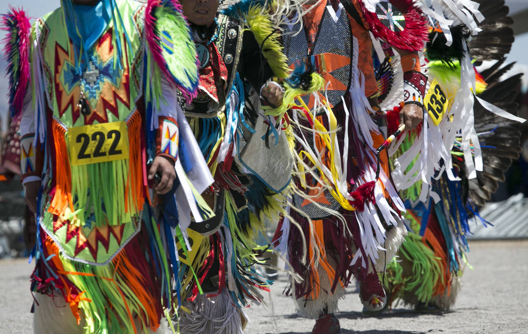 Participants dance in the grand entry ceremonies during the 28th annual Snow Mountain Pow Wow on Saturday, May 27, 2017. Richard Brian Las Vegas Review-Journal @vegasphotograph