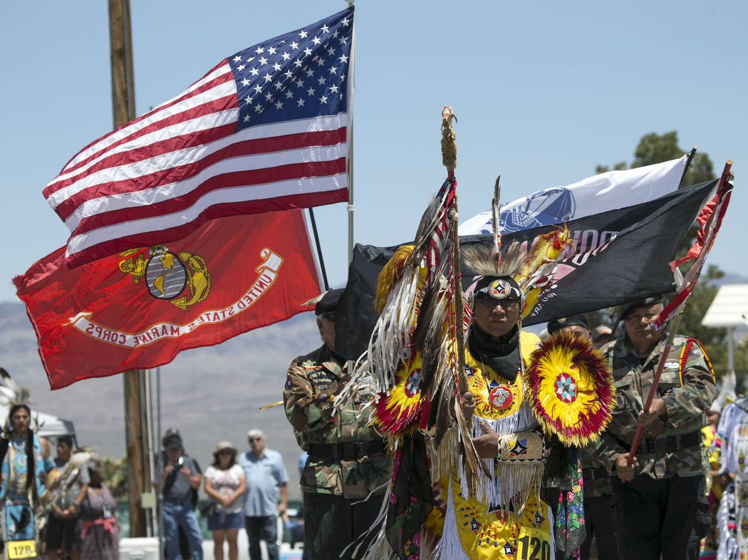 Flags are presented in the grand entry ceremonies during the 28th annual Snow Mountain Pow Wow on Saturday, May 27, 2017. Richard Brian Las Vegas Review-Journal @vegasphotograph