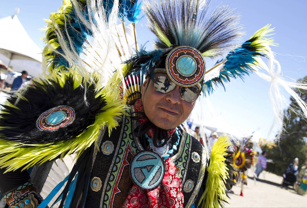 Roger Benally, of Salt Lake City prepares to dance in the grand entry ceremonies during the 28th annual Snow Mountain Pow Wow on Saturday, May 27, 2017. Richard Brian Las Vegas Review-Journal @veg ...
