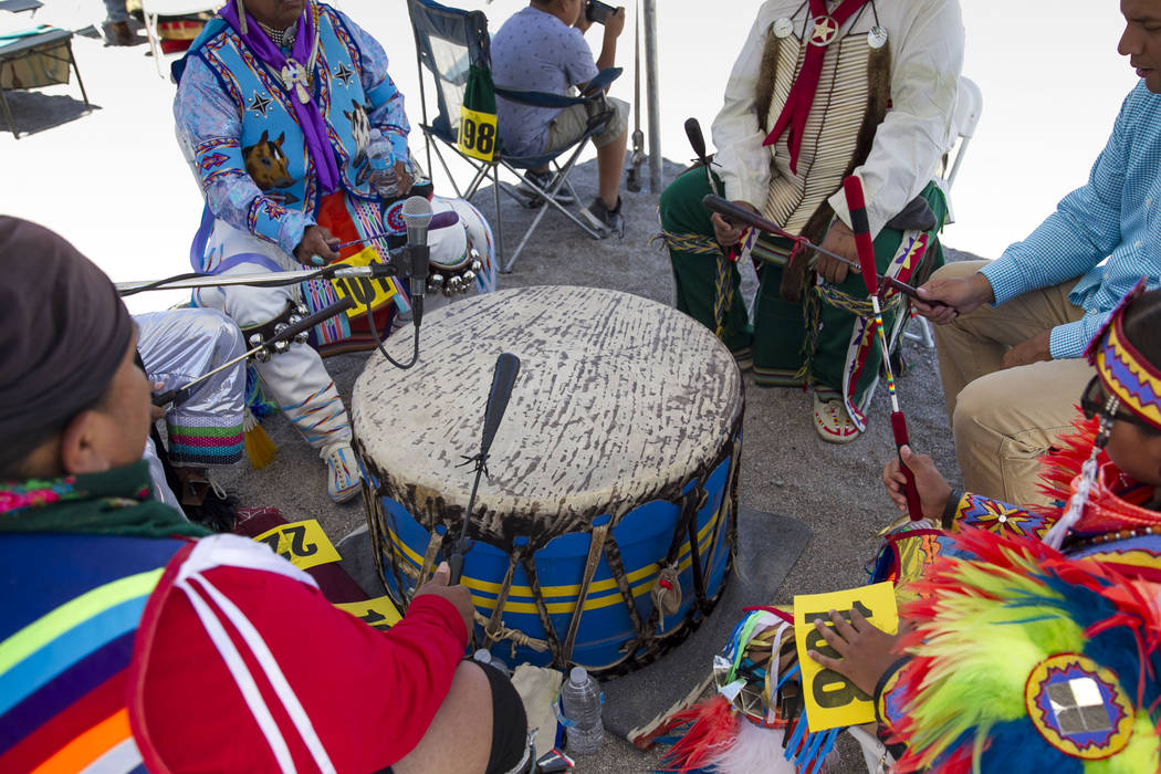 Drummers keep a beat and sing in the grand entry ceremonies during the 28th annual Snow Mountain Pow Wow on Saturday, May 27, 2017. Richard Brian Las Vegas Review-Journal @vegasphotograph