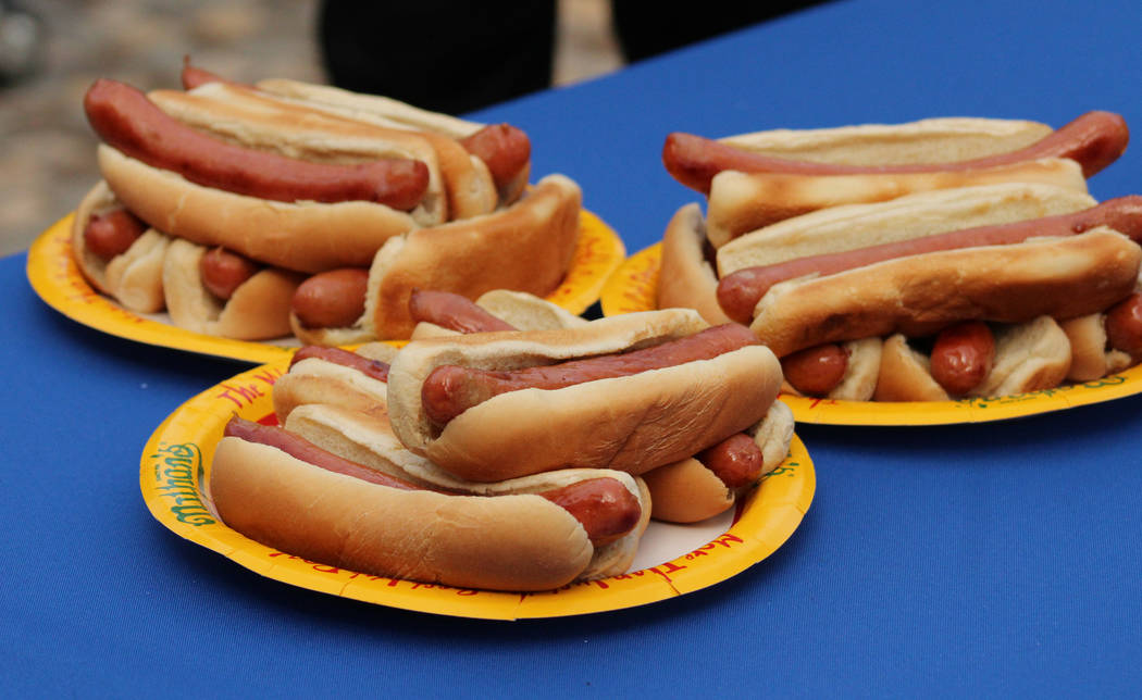 Plates of leftover hot-dogs after Nathan's Famous hosted the Nevada qualifier for the Fourth of July International Hot Dog-Eating Contest at New York New York hotel-casino, Saturday, April 22, 201 ...