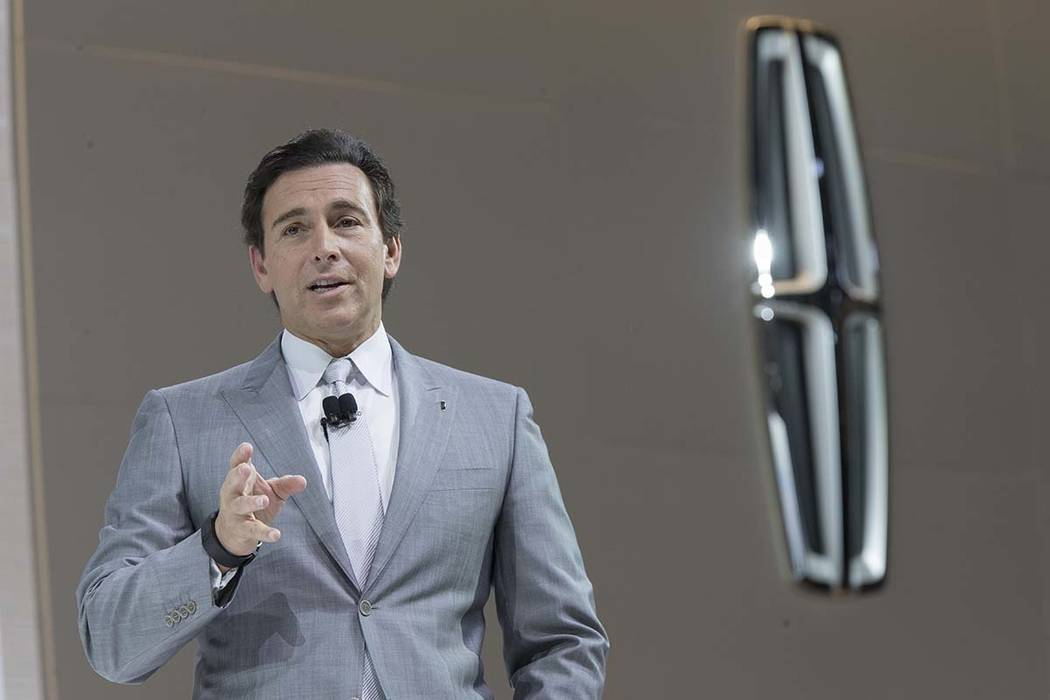 Ford Motor Co. President and CEO Mark Fields speaks during a media preview of the 2018 Lincoln Navigator in April at the New York International Auto Show in New York. Ford is replacing its CEO ami ...