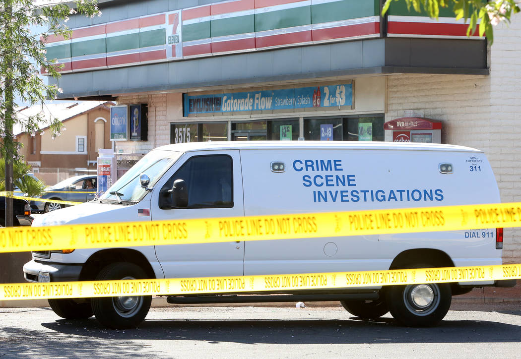Metro investigates after an armed man was shot and killed inside a 7-Eleven store at East Lake Mead Boulevard and Pecos Road on Monday, May 22, 2017. (Bizuayehu Tesfaye Las Vegas Review-Journal) @ ...