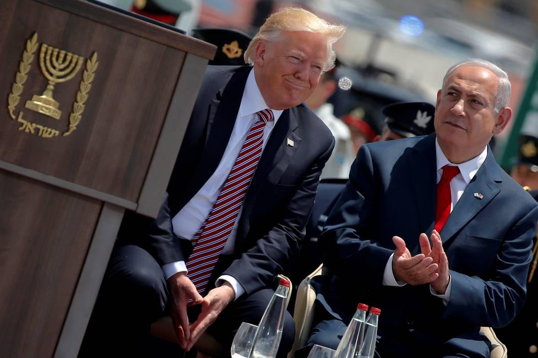 Israel's Prime Minister Benjamin Netanyahu (R) participates in a welcoming ceremony for U.S. President Donald Trump at Ben Gurion International Airport in Tel Aviv, Israel May 22, 2017.  REUTERS/J ...