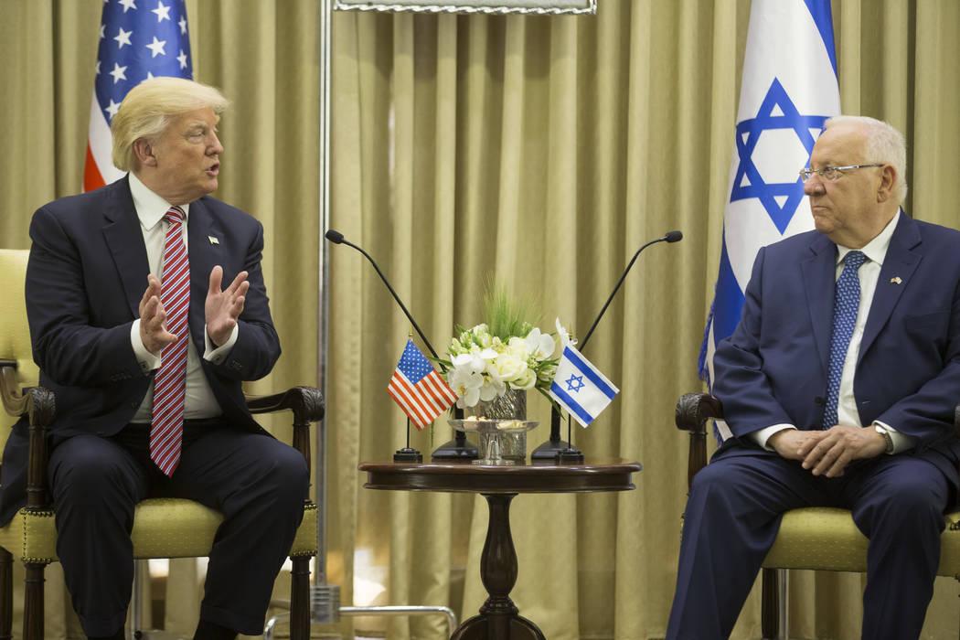 President Donald Trump meets Israeli President Reuven Rivlin in Jerusalem, Monday, May 22, 2017.  (Atef Safadi, EPA Pool via AP)