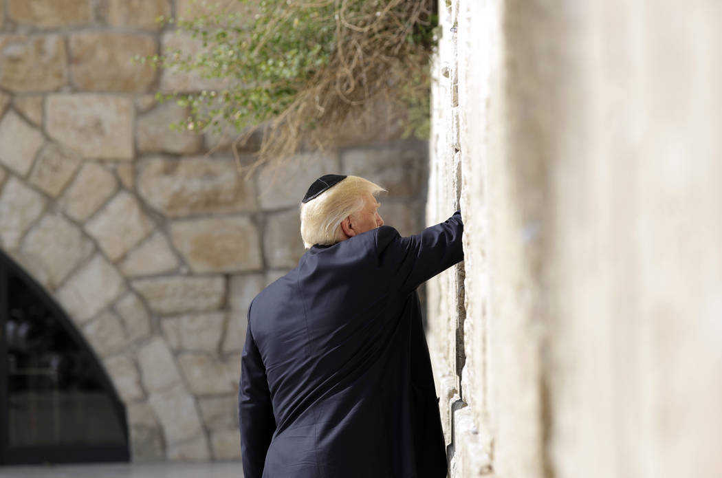 President Donald Trump visits the Western Wall, Monday, May 22, 2017, in Jerusalem. (Evan Vucci/AP)