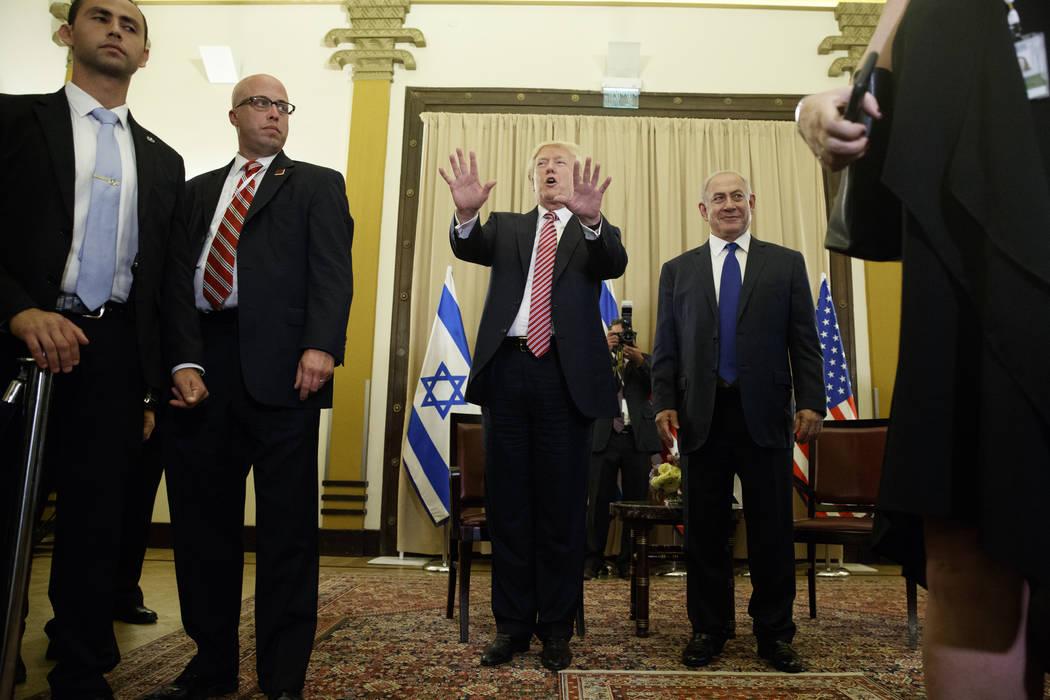 President Donald Trump talks to reporters before a meeting with Israeli Prime Minister Benjamin Netanyahu, Monday, May 22, 2017, in Jerusalem. (Evan Vucci/AP)