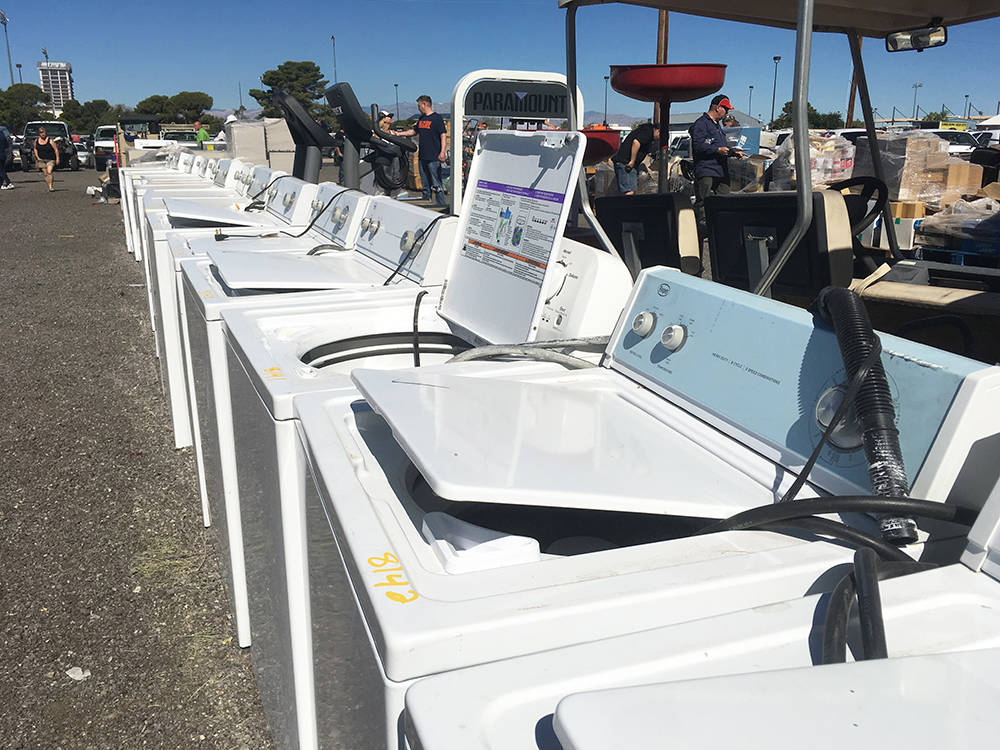 A seemingly endless line of washers and driers were a distinctive element of the Clark County government surplus auction. (Brian Sandford/View) @nweditor