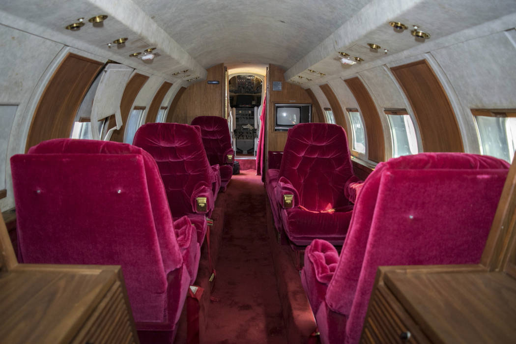 The interior of a private jet once owned by Elvis Presley on a runway in New Mexico. GWS Auctions Inc. of California is holding an auction for the plane May 27, 2017, at an event featuring A-list  ...
