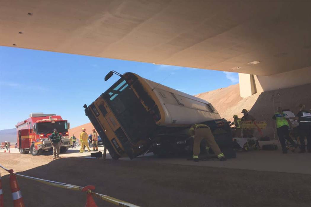 Multiple Las Vegas agencies participated in a mass casualty training exercise involving an overturned school bus on Monday, May 22, 2017. (Twitter/@NHPSouthernComm)