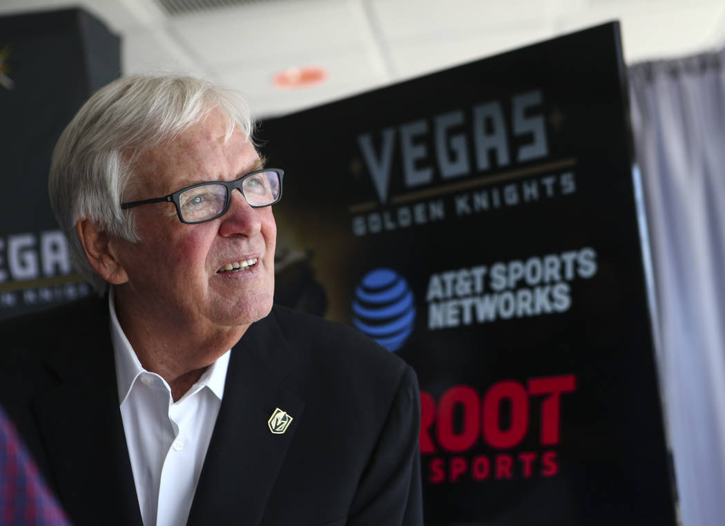 Vegas Golden Knights owner Bill Foley talks about the team's multiyear television deal with ROOT SPORTS at the Stratosphere hotel-casino observation deck in Las Vegas on Tuesday, May 23, 2017. Cha ...