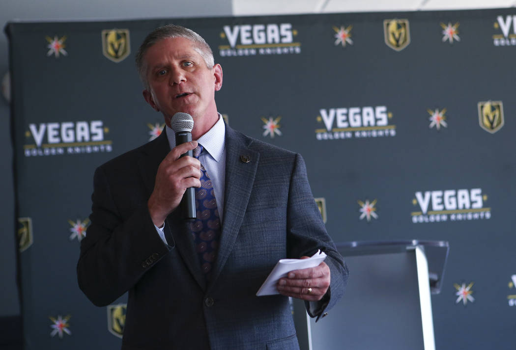 Vegas Golden Knights president Kerry Bubolz speaks about the team's multiyear television deal with ROOT SPORTS at the Stratosphere hotel-casino observation deck in Las Vegas on Tuesday, May 23, 20 ...
