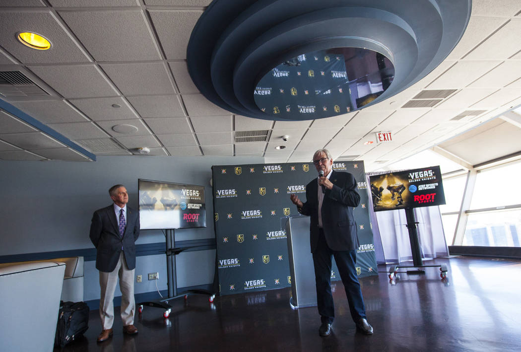 Vegas Golden Knights owner Bill Foley, right, talks alongside president Kerry Bubolz about the team's multiyear television deal with ROOT SPORTS at the Stratosphere hotel-casino observation deck i ...