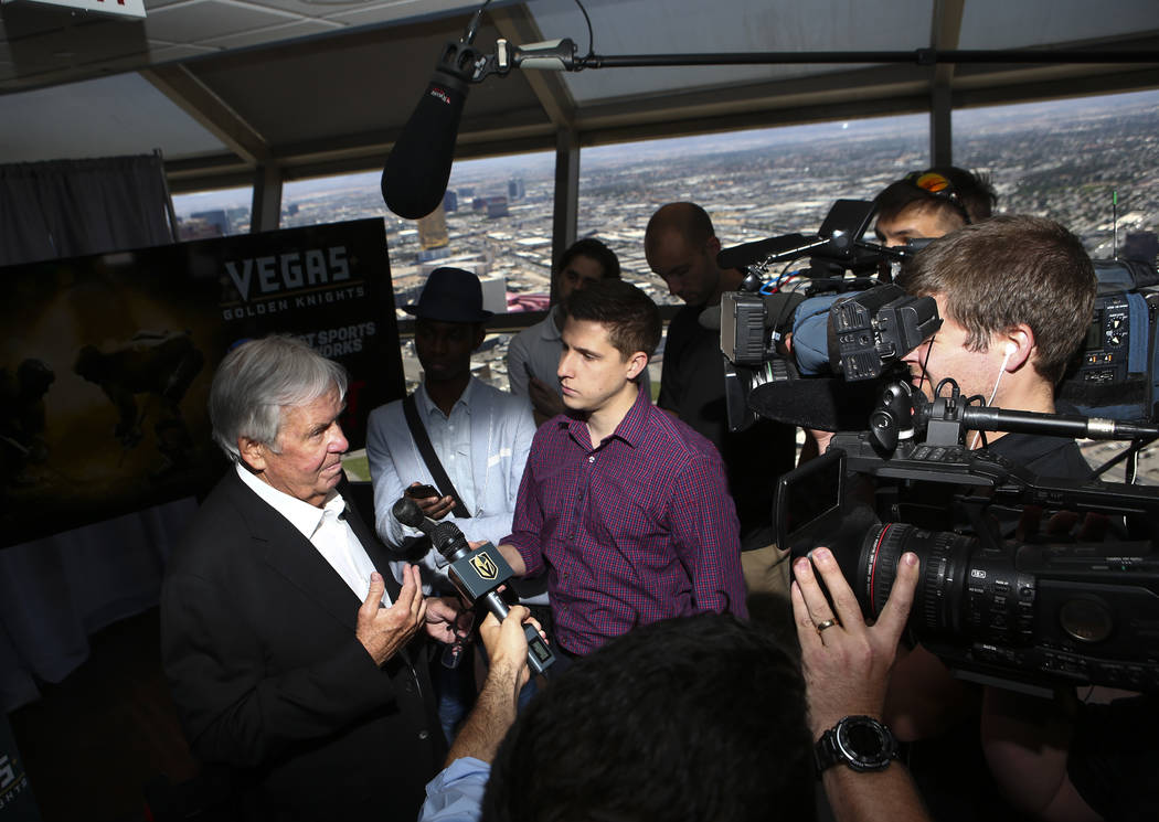 Vegas Golden Knights owner Bill Foley, left, talks about the team's multiyear television deal with ROOT SPORTS at the Stratosphere hotel-casino observation deck in Las Vegas on Tuesday, May 23, 20 ...