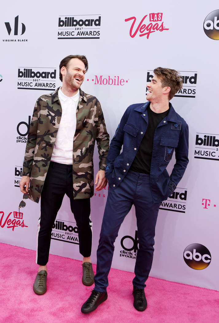 Alex Pall and Andrew Taggart of The Chainsmokers arrive at The Billboard Music Awards at T-Mobile Arena on Sunday May, 21, 2017, in Las Vegas. (Elizabeth Brumley/Las Vegas Review-Journal)