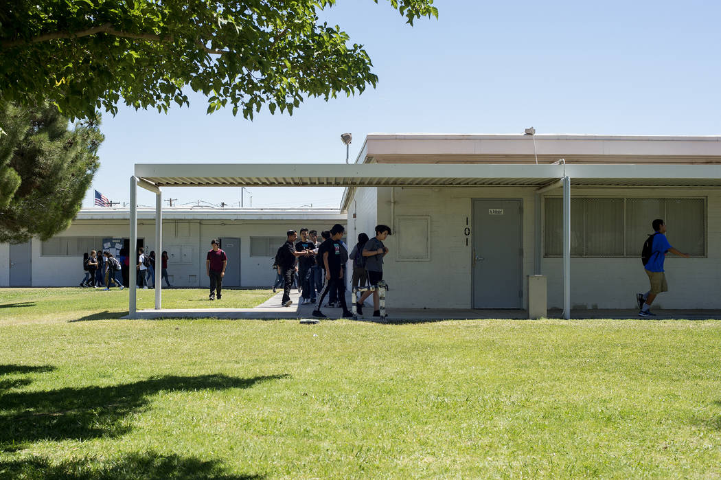 Kids exit John C. Fremont Middle School at the end of a school day on Tuesday, May 23, 2017, in Las Vegas.  Bridget Bennett Las Vegas Review-Journal @bridgetkbennett