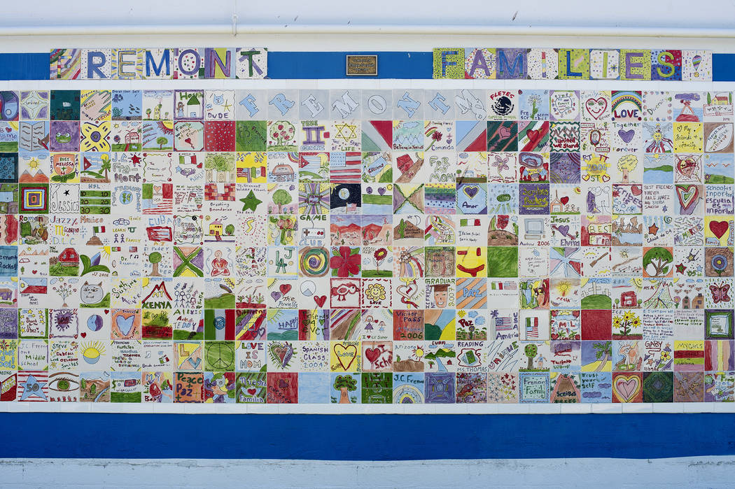 Tiles made by students are displayed on an exterior wall at John C. Fremont Middle School on Tuesday, May 23, 2017, in Las Vegas.  Bridget Bennett Las Vegas Review-Journal @bridgetkbennett