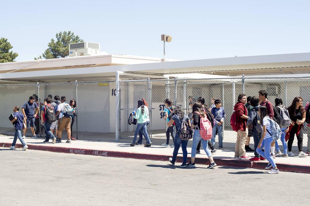 Kids exit John C. Fremont Middle School at the end of a school day on Tuesday, May 23, 2017, in Las Vegas.  Bridget Bennett Las Vegas Review-Journal @bridgetkbennett