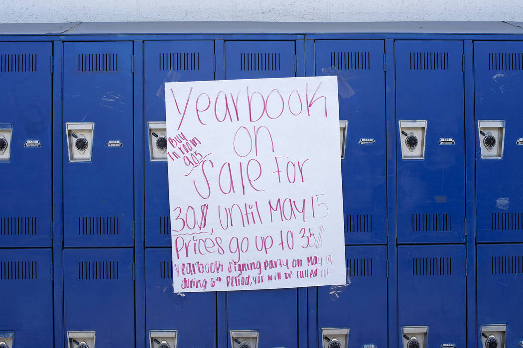 A sign for yearbooks is displayed on lockers at John C. Fremont Middle School on Tuesday, May 23, 2017, in Las Vegas.  Bridget Bennett Las Vegas Review-Journal @bridgetkbennett