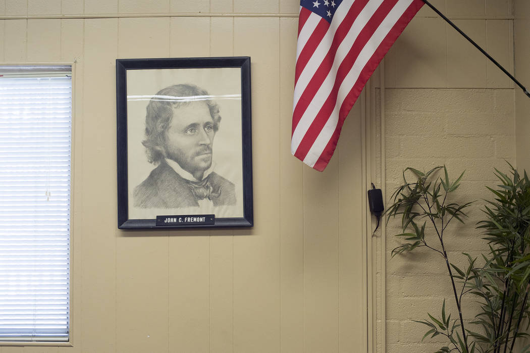 A drawing of John C. Fremont is on display at John C. Fremont Middle School on Tuesday, May 23, 2017, in Las Vegas.  Bridget Bennett Las Vegas Review-Journal @bridgetkbennett