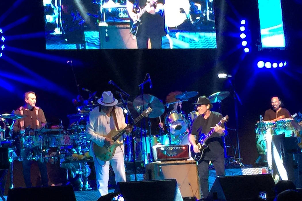 Carlos Santana and his longtime friend and protege Neal Schon perform at House of Blues at Mandalay Bay on Sunday, May 21, 2017. (Michaele Schon)