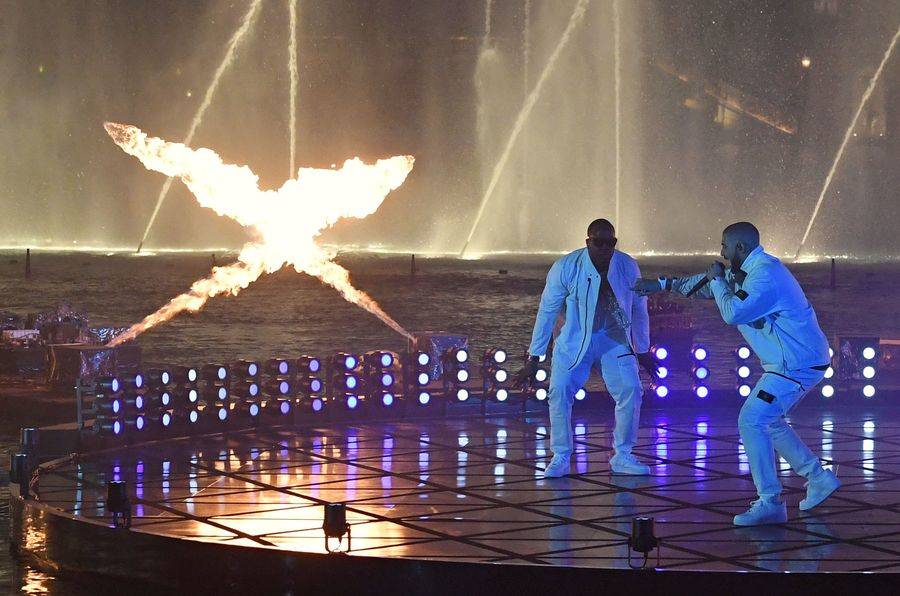 Drake performs at The Bellagio Fountains during the 2017 Billboard Music Awards at T-Mobile Arena on Sunday, May 21, 2017, in Las Vegas. The performance was recorded Saturday at the popular Las Ve ...