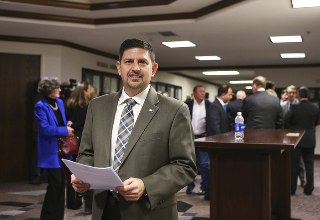 State Sen. Mark Manendo has resigned his chairmanship of the Senate Transportation Committee amid an ongoing investigation into sexual harassment allegations. (Chase Stevens/Las Vegas Review-Journ ...
