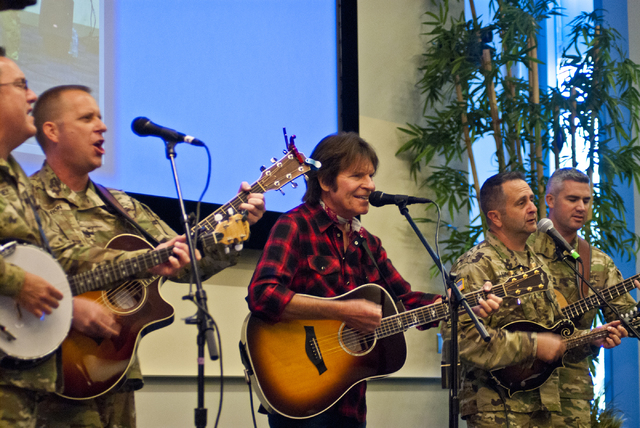 John Fogerty of Creedence Clearwater Revival fame performs with the Six-String Soldiers in honor of National POW-MIA Recognition Day at the VA Medical Center in North Las Vegas on Thursday, Sept.  ...