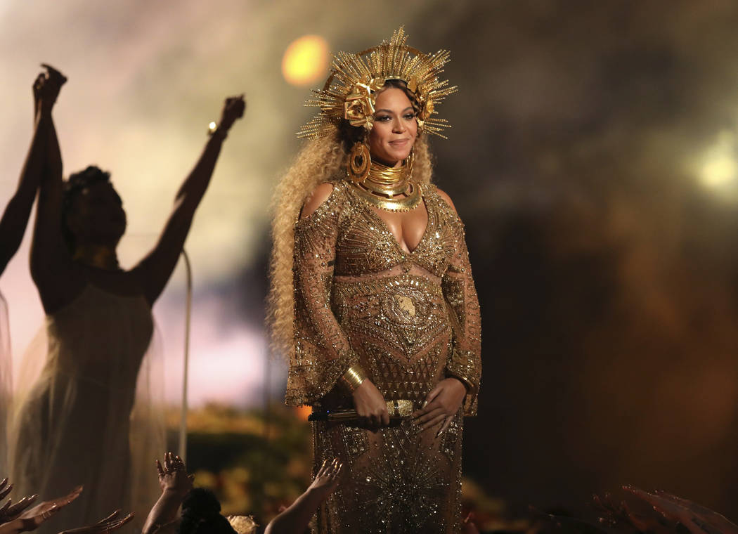 "This Feb. 12, 2017, file photo shows Beyonce performing at the 59th annual Grammy Awards in Los Angeles. Beyonce and Jay Z celebrated the impending birth of their twins with a ""push party"" on  ..."