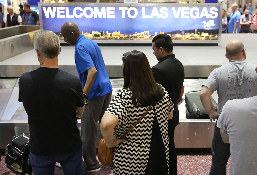 Arriving passengers wait for their luggage at Southwest Airlines baggage claim area at McCarran International Airport on  Tuesday, May 23, 2017, in Las Vegas. Bizuayehu Tesfaye Las Vegas Review-Jo ...
