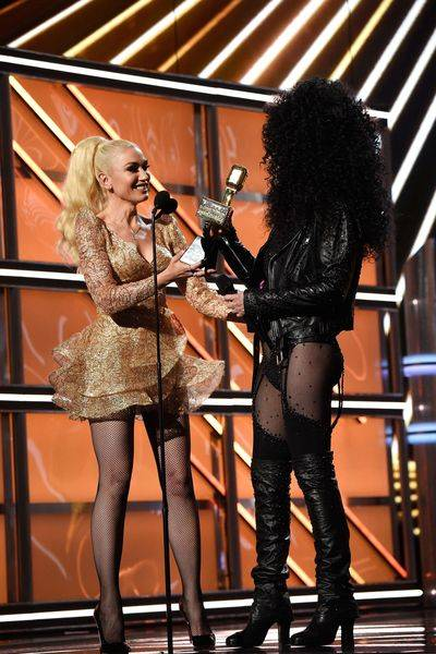 Gwen Stefani presents The Icon Award to Cher during The 2017 Billboard Music Awards at T-Mobile Arena on Sunday, May 21, 2017, in Las Vegas. (Kevin Mazur/Getty Images for ABC)