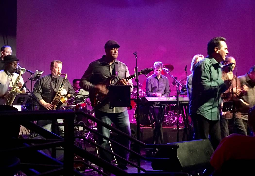 Former New York Yankees great Bernie Williams joins Jerry Lopez, Right, and Santa Fe & The Fat City Horns on Monday, April 24, 2017. (John Katsilometes/Las Vegas Review-Journal) @JohnnyKats