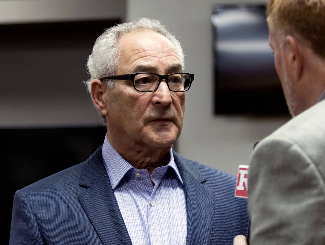 Chicago Wolves owner Don Levin discusses becoming the American Hockey League affiliate of the Vegas Golden Knights at the Triphahn Center in Hoffman Estates, Ill., on Monday, May 22, 2017. Heidi F ...