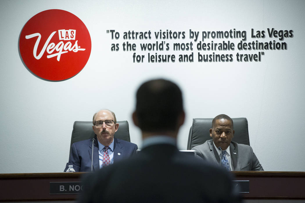 Las Vegas Convention and Visitors Authority board members Bill Noonan, left, and Lawrence Weekly during a board meeting at the Las Vegas Convention Center on Tuesday, April 11, 2017, in Las Vegas. ...